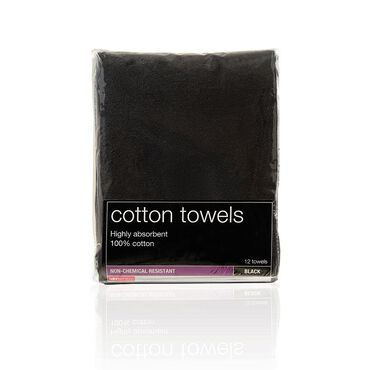 Salon Services Non Bleach Resistant Towel Black Pack of 12