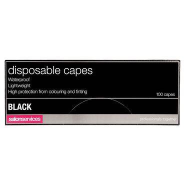 Salon Services Disposable Capes Black Pack of 100