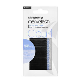 Salon System  Marvelash C Curl Lashes 0.20 Volume, Assorted Length, Ellipse  Black Each