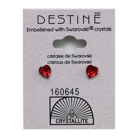 Crystallite Red Heart Stud Earrings