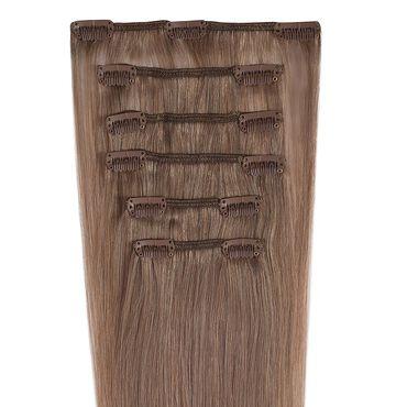 Wildest Dreams Clip In Half Head Human Hair Extension 18 Inch - 8 Cappuccino Brown