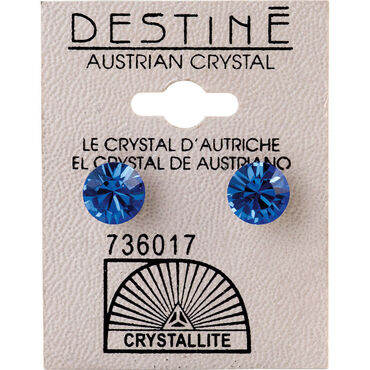 Crystallite Sapphire Large Ear Studs 8mm