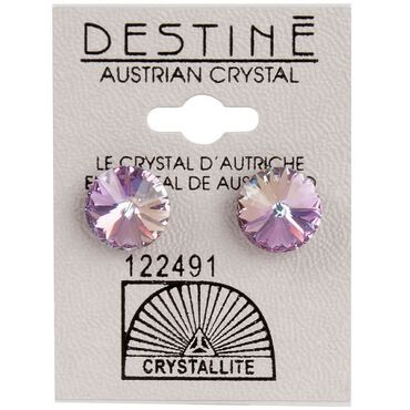 Crystallite Extra-large Violet Rivoli Ear Studs 11mm