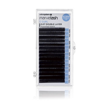Salon System  Marvelash C Curl Lashes 0.07 Double Layer, Assorted Length Black Each