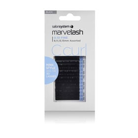 Salon System  Marvelash C-Curl Lashes 0.10 Fine, Assorted Length, Mink Style  Black Each