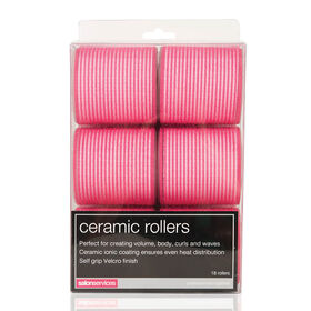 Salon Services Ceramic Rollers Set, Pink, Pack of 18