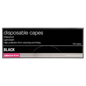 Salon Services Disposable Capes Black Pack of 100