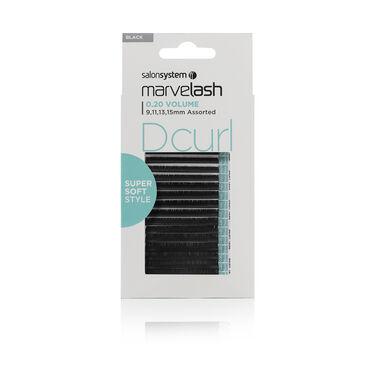 Salon System  Marvelash D Curl Lashes 0.20 Volume, Assorted Length, Super Soft Style Black Each