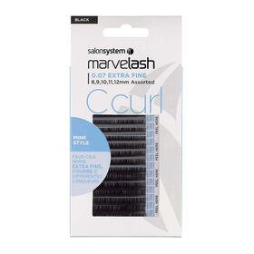 Salon System  Marvelash C Curl Lashes 0.07 Extra Fine, Assorted Length, Mink Style     Black Each