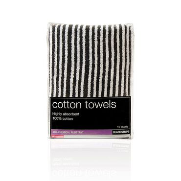 Salon Services Tinting Towel Black and White Stripe Pack of 12