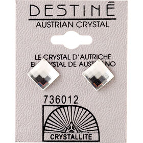 Crystallite Lattice Clear Square Ear Studs 8mm