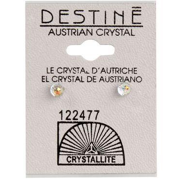 Crystallite Aurora Borealis Faceted Ball Earrings 4mm