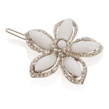 Wildest Dreams White Stone and Crystal Flower Clip