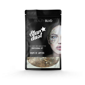 Beauty BLVD Stardust Pro Face, Hair & Body Glitter Kit Drops of Jupiter Gold 75g