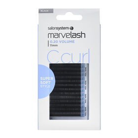 Salon System  Marvelash C Curl Lashes 0.20 Volume, 11mm, Super Soft Style Black Each