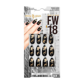 China Glaze Pre-Glued Designer Nails Matte Black Foil Pack of 24