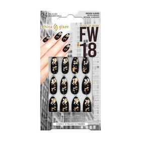 China Glaze Pre-Glued Designer Nails Matte Black Foil Pack of 24