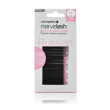 Salon System  Marvelash Russian C+D Curl Lashes, 0.07 Double Layer, Assorted Length Black Each
