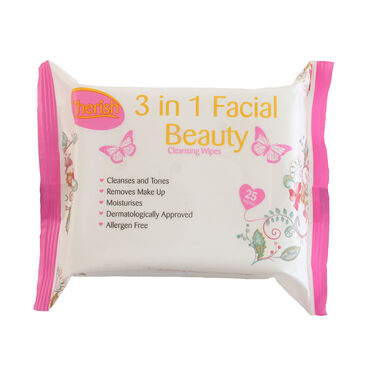 Cherish 3-in-1 Facial Cleansing Wipes Pack of 25