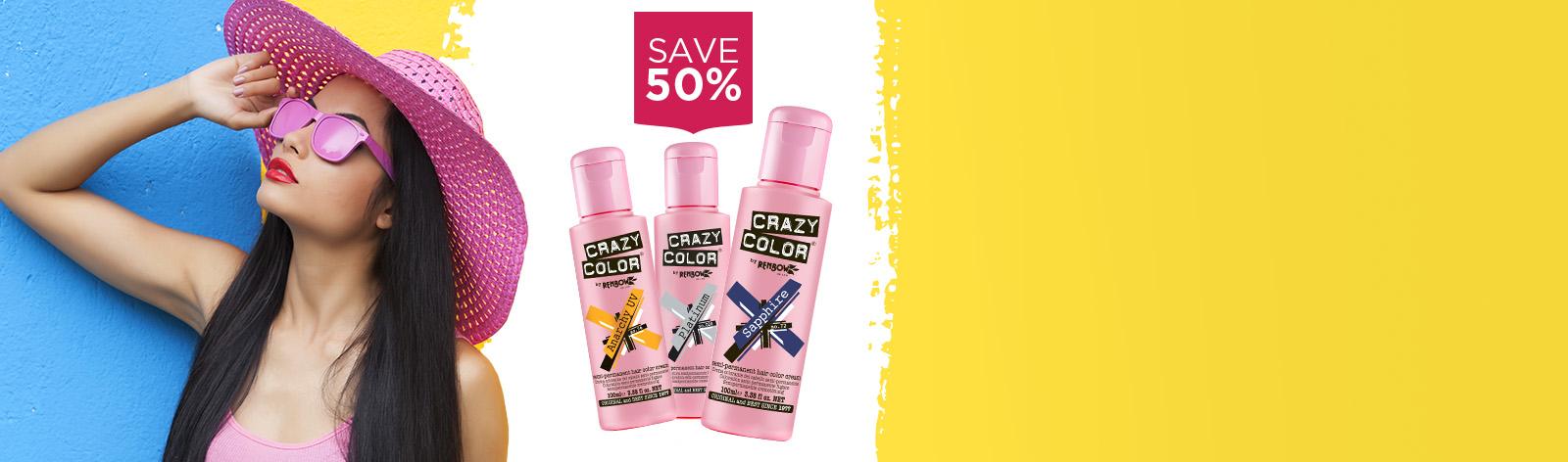 Save 50% on Crazy Colour Semi Permanent Hair Colour Cream and the Lash Tint Kit