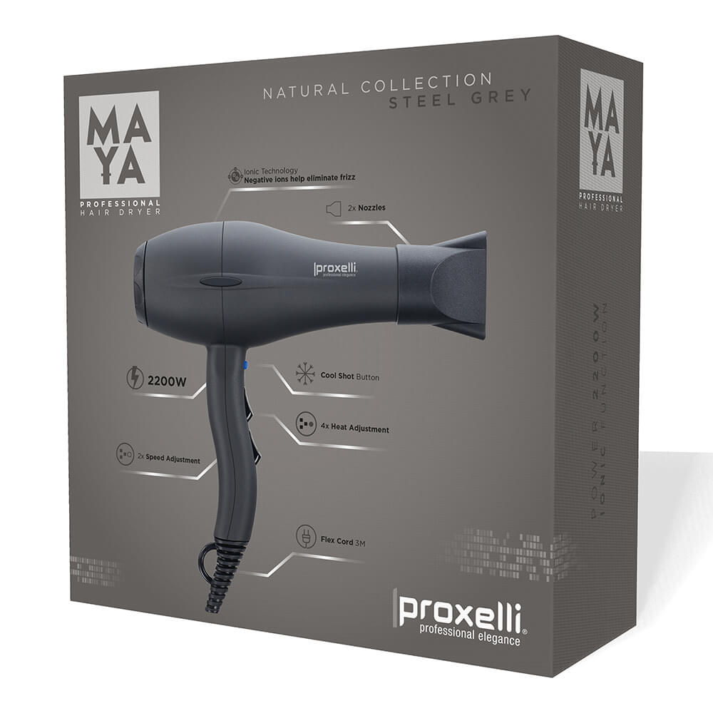 Body Care & Cosmetics|Hair Care & Shampoo|Hair Styling Equipment Proxelli MAYA Hairdryer Steel Grey