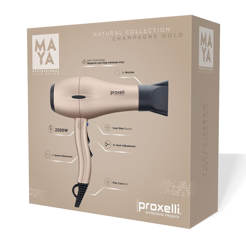 Body Care & Cosmetics|Hair Care & Shampoo|Hair Styling Equipment Proxelli MAYA Hairdryer Champagne